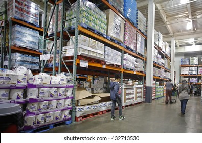 NEW YORK CITY - June 5 2016: Costco Warehouse Corporation posted flat earnings for May 2016, falling short of analysts' expectations. Interior of Brooklyn Costco