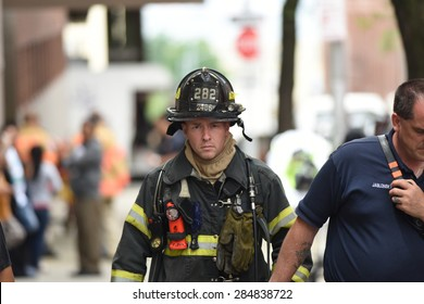 NEW YORK CITY - JUNE 6 2015: several FDNY ladder & engine companies responded to a residential fire in the Sunset Park neighborhood of Brooklyn. No serious injuries were reported