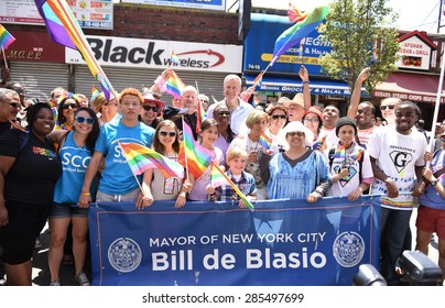 NEW YORK CITY - JUNE 7 2015: the 23rd annual Queens Pride parade & street fair took place in Jackson Heights, led by mayor Bill de Blasio, and members of the NY city council.