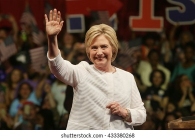 New York City, New York; June 7th, 2016, Democratic US presidential candidate Hillary Clinton arrives to her primary night victory rally at the Brooklyn Navy Yard in New York.