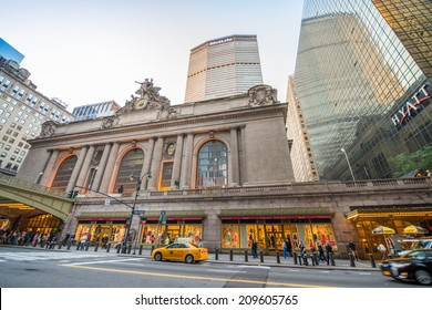 NEW YORK CITY - JUNE 8, 2013: Rush of pedestrians outside historic Grand Central Terminal in NYC. The world's largest train station, Grand Central has more than 44 platforms and 67 tracks