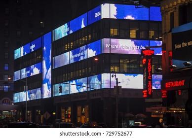 New York City - June 8, 2007: Lehman Brothers Headquarters in midtown Manhattan at night.