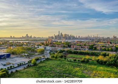 New York City - June 9, 2019: The Red Hook Grain Terminal in the Red Hook neighborhood of Brooklyn, New York.