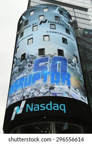 NEW YORK CITY - JUNE 9, 2015 The headquarters of the NASDAQ Stock Exchange, the second largest trading market in the world in Times Square