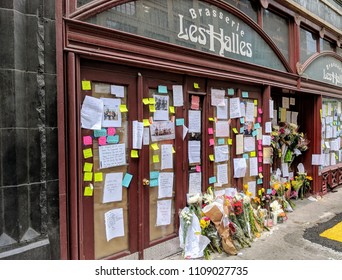 New York City, June 9th, 2018 - Memorial outside of Les Halles Brasserie honoring Anthony Bourdain following the death of the celebrated chef, writer and television personality in Manhattan.
