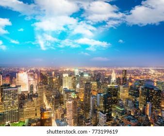 New York City lights at night.