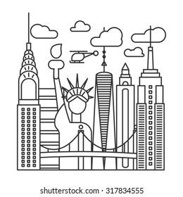 new york city line illustration