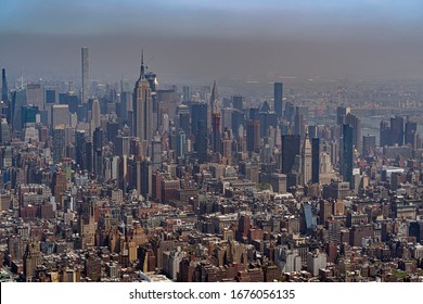 new york city manhattan aerial view from helicopter