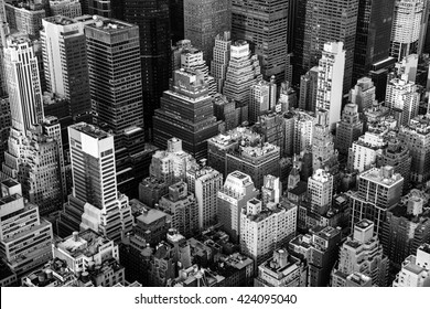 New York City Manhattan aerial view black and white with skyscrapers and street
