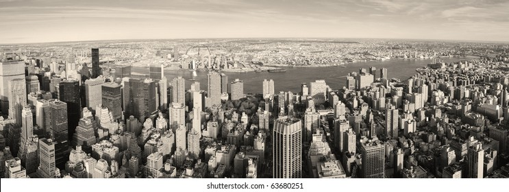 New York City Manhattan aerial panorama view with New Jersey from west Hudson River and skyscrapers at sunset.