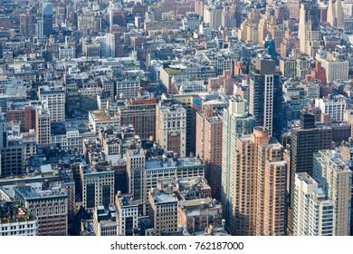 New York City Manhattan aerial view, skyscrapers background