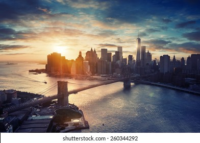 New York City - Manhattan after sunset , beautiful cityscape
