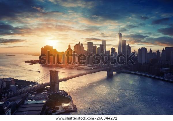 New York City - Manhattan after sunset , beautiful cityscape