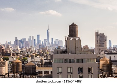 New York City Manhattan cityscape of buildings looking toward downtown financial district