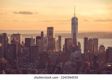 New York City - Manhattan Downtown - Skyline at sunset and twilight. USA.