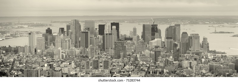 New York City Manhattan downtown skyscrapers panorama aerial view in black and white.