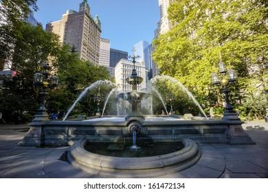 New York City Manhattan City Hall Park fountain