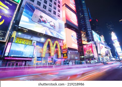 New York City, Manhattan, Jan 18, 2014 - Night in Times Square