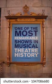 "NEW YORK CITY, MANHATTAN - March 11 2018: Dear Evan Hansen At Music Box Theatre On Broadway - Winner Of 6 Tony Awards, Best Musical, Staring Ben Platt, ""You Will Be Found"", Posters Outside Venue"