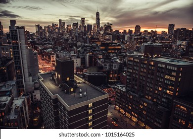 New York City Manhattan Midtown aerial view to skyscrapers at twilight time