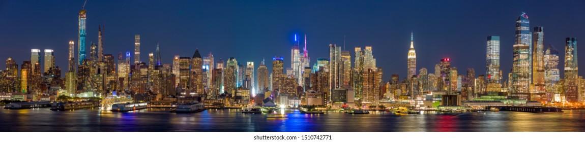 New York City Manhattan midtown buildings skyline at night