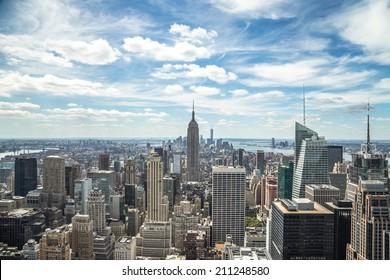 New York City Manhattan midtown buildings skyline view