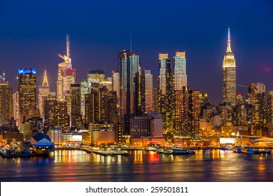New York City Manhattan midtown buildings skyline at night