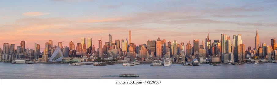 New York City Manhattan midtown skyline at dusk USA