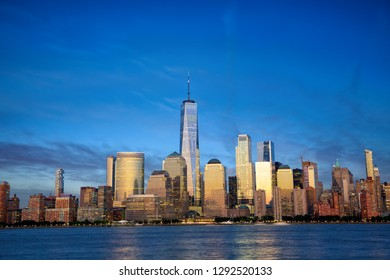 New York City Manhattan skyline with modern skyscrapers at dusk