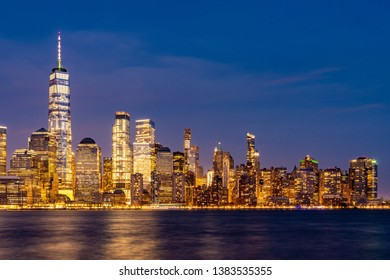 New York city Manhattan skyline cityscape at dusk from New Jersey.