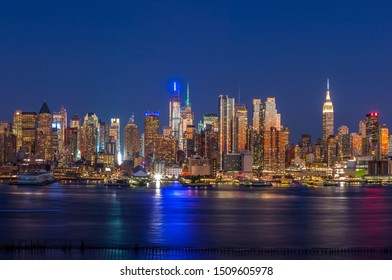 New York City Manhattan skyline evening night