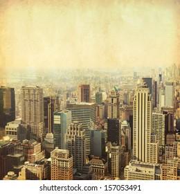 New York City Manhattan skyline. Grunge and retro style.
