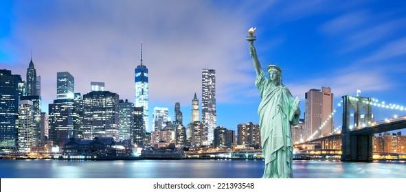 New York City - Manhattan Skyline with Brooklyn Bridge and the Statue of Liberty