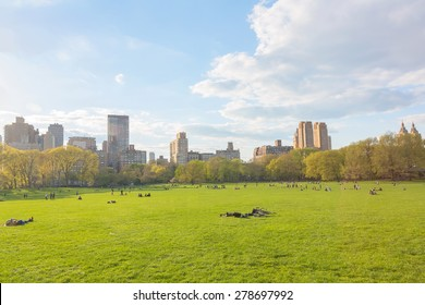 New York City Manhattan skyline panorama viewed from Central Park