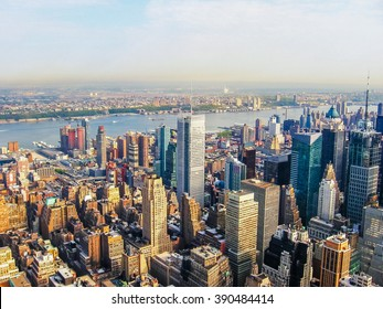 New York City Manhattan Skyline, helicopter flight view.  United States