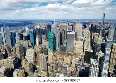 New York City Manhattan skyline aerial view in morning