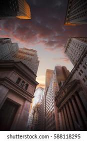 New York City Manhattan Skyline, U.S.A. colorful sunset