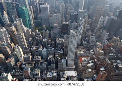 New York City Manhattan skyline aerial view with skyscrapers roof tops and streets in a sunny day