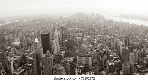 New York City Manhattan skyline aerial view panorama black and white with skyscrapers and street.