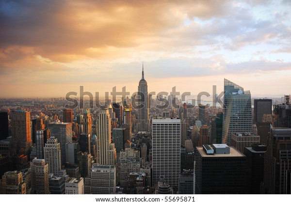 New York City Manhattan skyline at sunset with empire state building