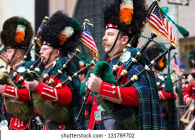 NEW YORK CITY - MAR 16:  Participants march up 5th Ave. in NYC for 252nd St. Patricks Day Parade on March 16, 2013. This annual parade celebrated Irish heritage in Manhattan.