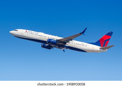 New York City, New York - March 1, 2020: Delta Air Lines Boeing 737-900ER airplane at New York JFK Airport in the United States.