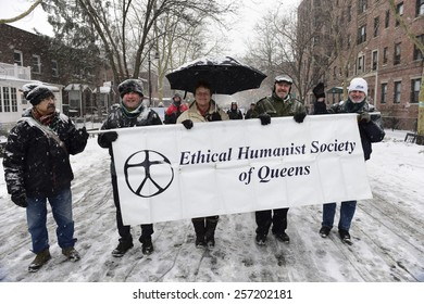 NEW YORK CITY - MARCH 1 2015: the 15th annual St. Pat's For All parade, an alternative to the Fifth Ave parade, took place in driving snow in Sunnyside, Queens. Ethical Humanist Society of Queens