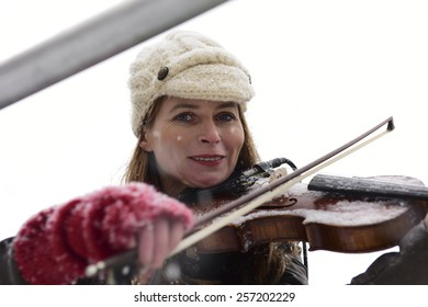 NEW YORK CITY - MARCH 1 2015: the 15th annual St. Pat's For All parade, an alternative to the Fifth Ave parade, took place in driving snow in Sunnyside, Queens.