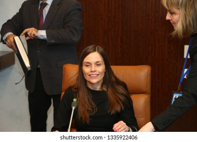 NEW YORK CITY - MARCH 11 2019: Icelandic Prime Minister Katrin Jakobsdottir was formally presented to UN Secretary-General Antonio Guterres in his 38th floor office