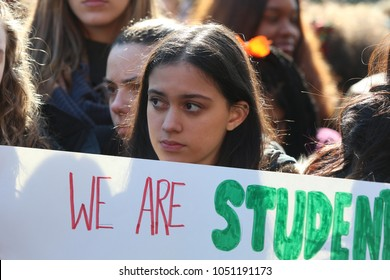 NEW YORK CITY - MARCH 14 2018: Students at Edward R Murrow High School were joined by Mayor de Blasio walking out in protest of the Florida High School shootings