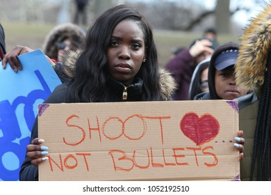 NEW YORK CITY - MARCH 14 2018: After a citywide walkout in protest of gun violence, students gathered at Prospect Park to rally & plan further actions.