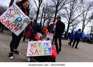 NEW YORK CITY - MARCH 14 2018: After a city-wide walkout, students rallied at Brooklyn's Prospect Park to speak & plan further actions.