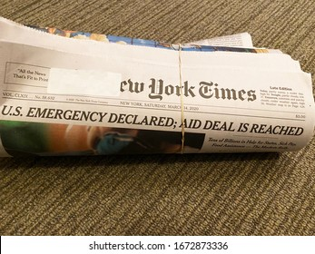 New York City, New York - March 14, 2020: NY Times headline says House passes sweeping coronavirus response package Covid-19 outbreak battering United States. Led by President Donald Trump.