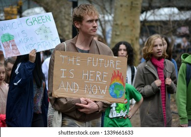 New York City - March 15, 2019: Students taking part in the Strike to Demand Action on Climate Change in Manhattan.